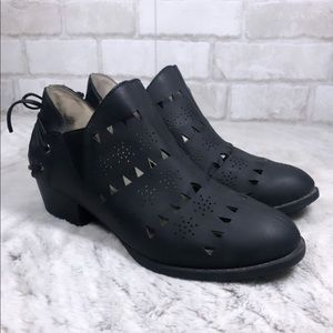 Vegan Leather Laser Cut Western Style Slip Boots
